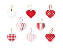 Set Of Vector Hearts. Design Elements For Valentine's Day Or Christmas. Collection Of Textile Handmade Hearts Isolated On A White Background.