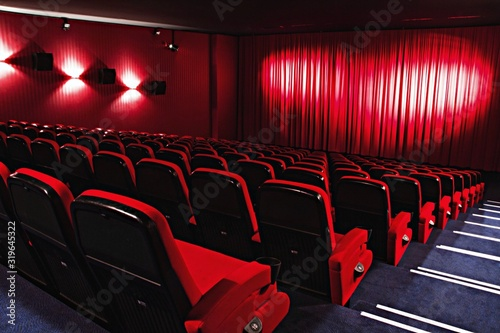 View of red chairs in auditorium Canvas Print