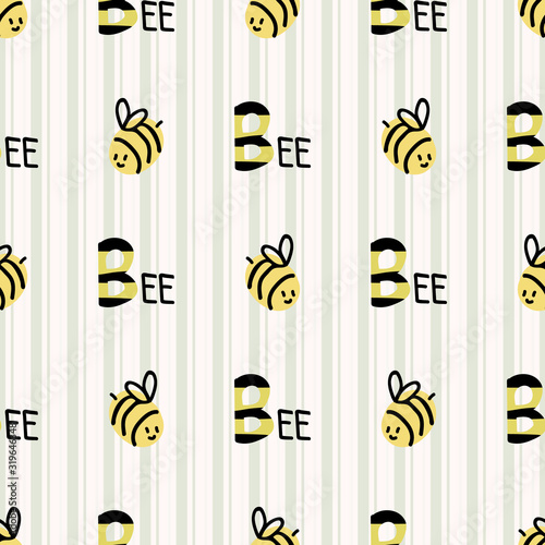 Photo Cute simple stylized bumble bee seamless vector pattern