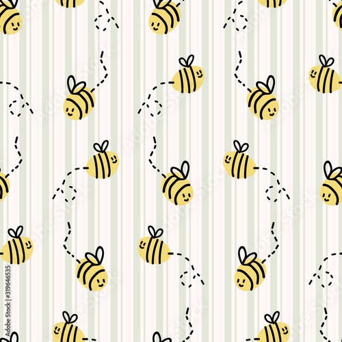 Cute simple stylized bumble bee seamless vector pattern Canvas Print