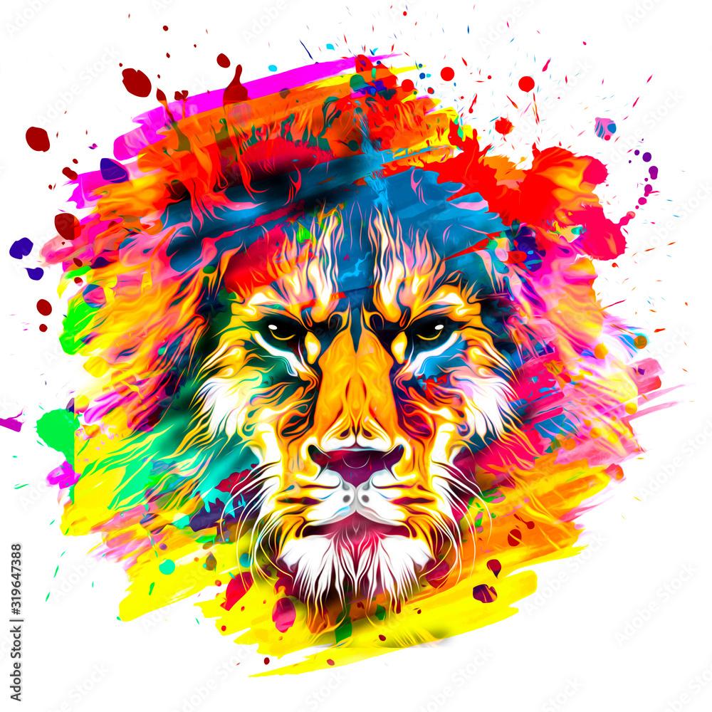 Fototapeta golden artistic lion on white background