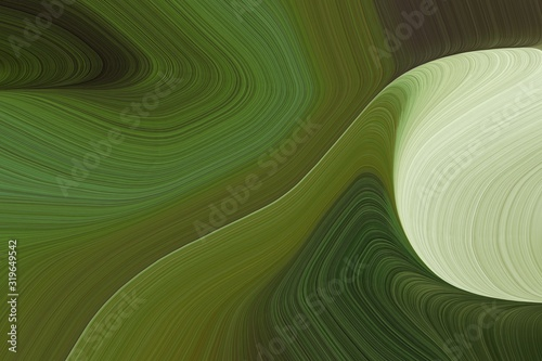 Photo abstract flowing and fluid lines and waves background with dark olive green, pastel gray and dark sea green colors