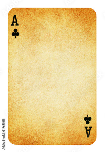 Photo Ace of clubs Vintage playing card isolated on white (clipping path included)