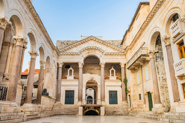 Split, Croatia, remains of Roman emperor Diocletians palace and Peristyle square in the morning, tourist destination