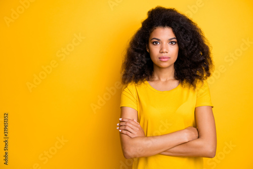 Close-up portrait of her she nice attractive lovely pretty calm content serious Billede på lærred