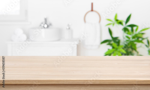 Empty tabletop for product display with blurred bathroom interior background Fototapet
