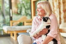 Seniorin Hält Eine Katze Auf ...