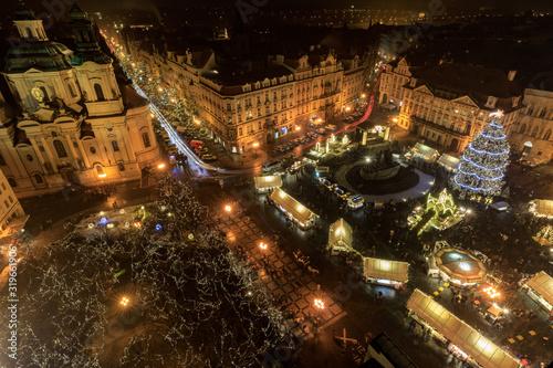 Fototapeta HIGH ANGLE VIEW OF CITY STREET AT NIGHT obraz na płótnie