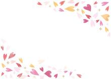 ピンクのハート背景素...