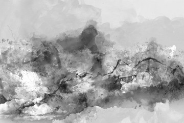 Watercolor background with mountains in fog, mixed media art background