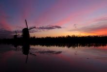 Sunset At Kinderdijk Holland W...