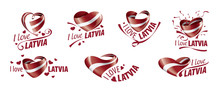 National Flag Of The Latvia In The Shape Of A Heart And The Inscription I Love Latvia. Vector Illustration