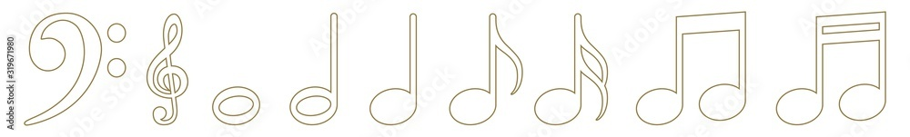 Fototapeta Music Notes Icon Gold Line   Note Illustration   Clef Symbol   Sound Logo   Tone Sign   Isolated   Variations