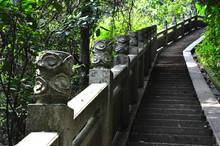 Stone-made Handrail Along The ...