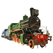 Vintage Steam Locomotive, Steam Train. Vector Graphics. Museum Piece. The History Of The Railway.