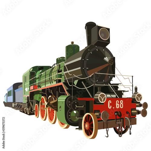 Stampa su Tela Vintage steam locomotive, steam train