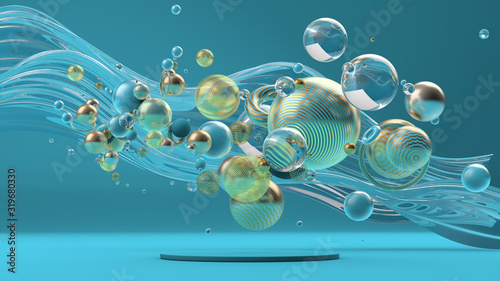 Beautiful abstract background with primitives and geometry. 3d illustration, 3d rendering. - 319680330