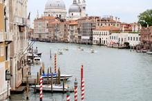 Boats Sailing In Grand Canal Against Santa Maria Della Salute