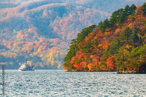 Fototapeta 十和田湖の紅葉 遊覧船
