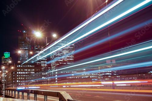 Fototapety, obrazy: LIGHT TRAILS ON ROAD AT NIGHT