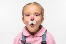 Cute Kid With Cat Muzzle Paint...