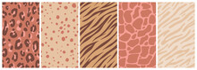 Vector Set Of Abstract Creative Backgrounds In Minimal Trendy Style With Copy Space For Text With Leopard Print