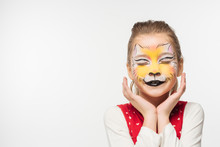 Cute Kid With Tiger Muzzle Pai...
