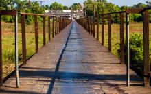 Rusty Steel Bridge With Small ...