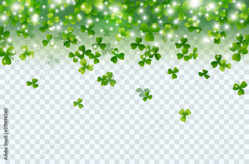Stampa su Tela Shamrock falling leaves with lights isolated on transparent background