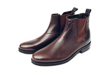 Shoes, Chelsea Leather Boots For Men. Male Winter, Autumn Or Spring Fashion. Footwear Isolated On White Background. Sale