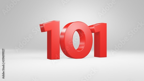 Photo Number 101 in red on white background, isolated glossy number 3d render
