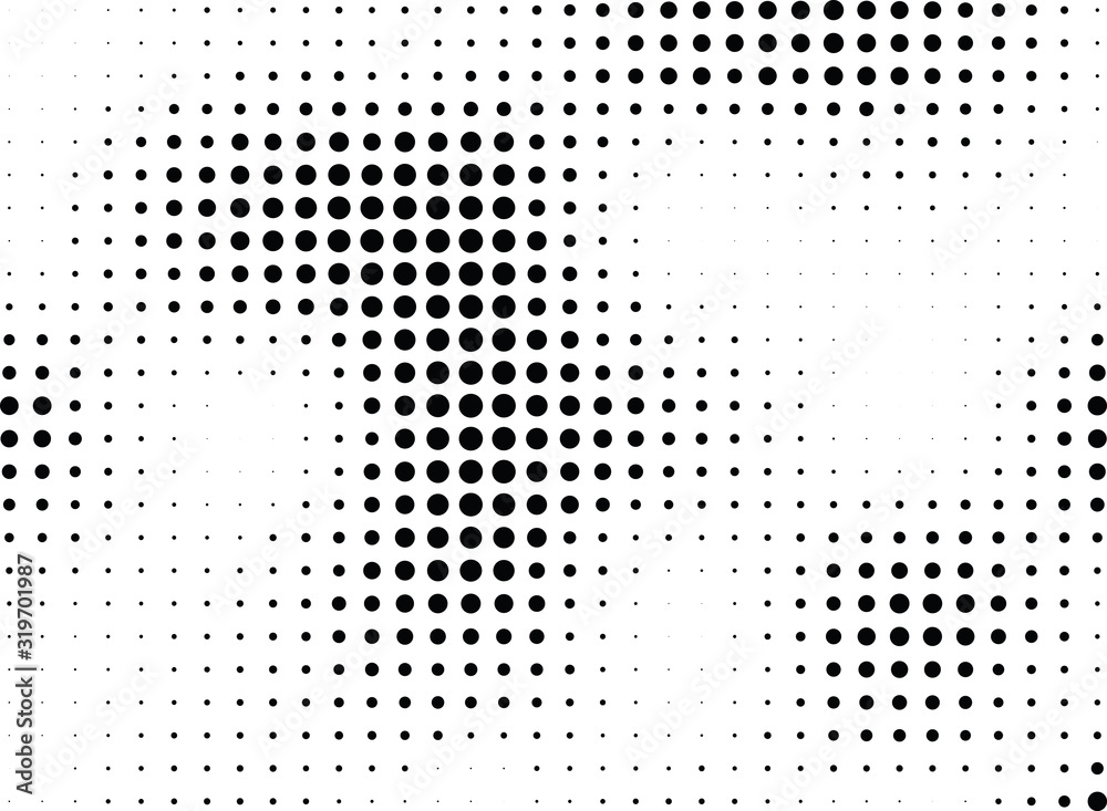 Fototapeta Abstract halftone dotted background. Monochrome grunge pattern with dot and circles.  Vector modern pop art texture for posters, sites, business cards, cover, postcards, labels, stickers layout.