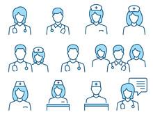 Doctor Line Icons. Vector Illustration. Editable Stroke.