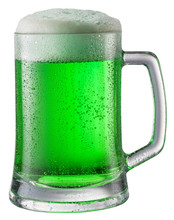 Glass Of Green Beer Isolated O...