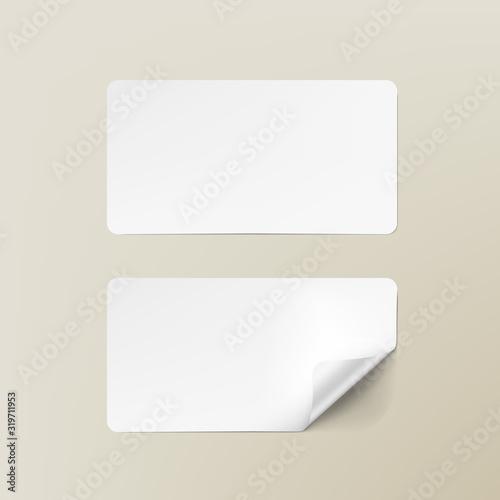 Realistic White Round Corner Paper Adhesive Cards Canvas Print