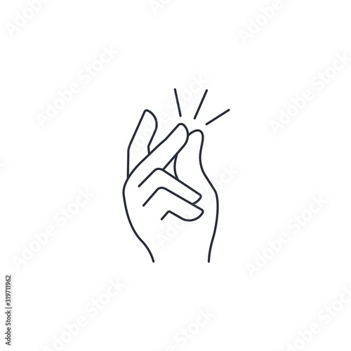 Fototapeta  Snapping fingers hand. Vector linear icon isolated on white background. obraz