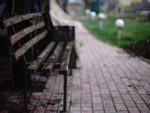 Old Retro Wooden Bench With Peeling Paint.