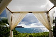 View Of Sea Through Curtains