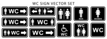 Wc Toilet Door Plate Icon Set. Women, Men And Disabled Human Sign For Restroom. Flat Vector Illustration Symbols Black White Color
