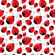 Beautiful And Unique Ladybug Insect Vector Seamless Design Flat Art Patter