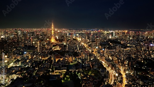 Canvas Print HIGH ANGLE VIEW OF ILLUMINATED CITYSCAPE AGAINST SKY AT NIGHT