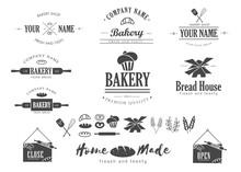 Set Of Bakery Shop Logo, Badges, Labels, Icons, Emblem, Design Elements