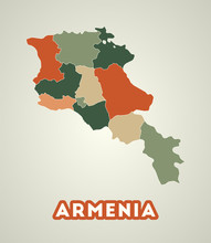 Armenia Poster In Retro Style. Map Of The Country With Regions In Autumn Color Palette. Shape Of Armenia With Country Name. Cool Vector Illustration.