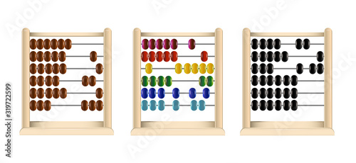 wooden abacus (red, blue, yellow, cyan, green, black and brown links) vector Canvas Print