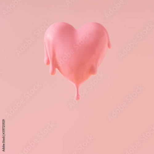 Heart with pink paint dripping. Minimal love concept.