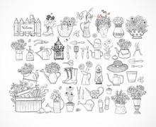 Garden Doodles. Garden Decor Elements On White Background. Doodle Sketch Illustration.
