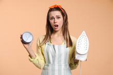 Stressed Young Housewife With ...