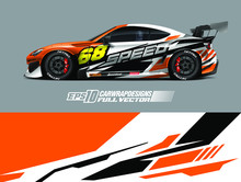 Vehicle Graphic Livery Design Vector. Graphic Abstract Stripe Racing Background Designs For Wrap Cargo Van, Race Car, Pickup Truck And Adventure. Full Vector Eps 10.