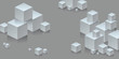 Composition with a bunch of tridimensional white cubes