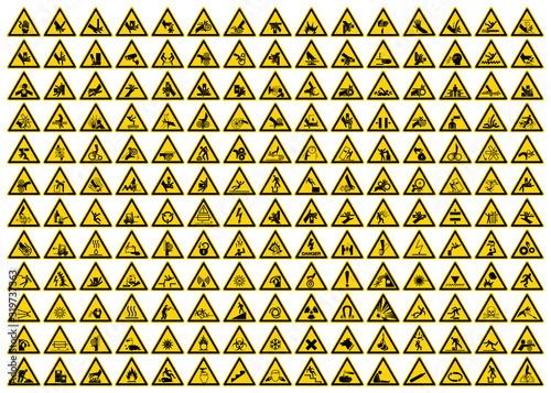 Photo Set of Triangle Yellow Warning Sign, Vector Illustration, Isolated On White Background Label